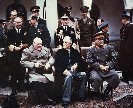 Churchill-Roosevelt-Stalin at the Yalta conference.
